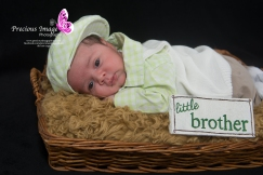 baby boy in basket with handmade wooden sign