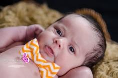 baby boy in an orange bow tie
