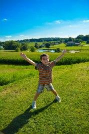 child in a field
