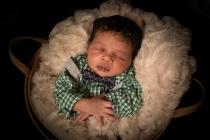 newborn boy in basket