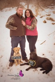save the date photo with dogs during engagement session