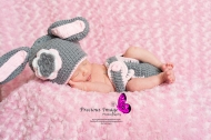 crocheted bunny outfit newborn photo