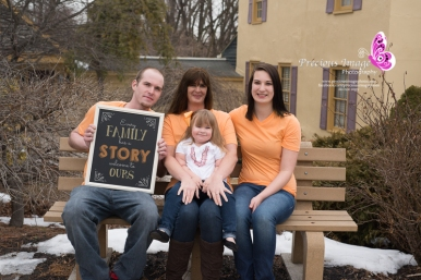 family photo with chalkboard