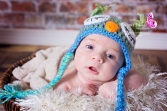 baby wearing crocheted owl hat in quarryville, pa