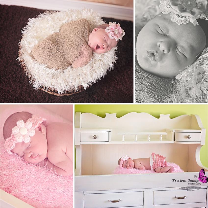 newborn girl wearing wrap in a basket