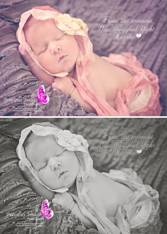 newborn girl wearing bonnet black and white color comparision