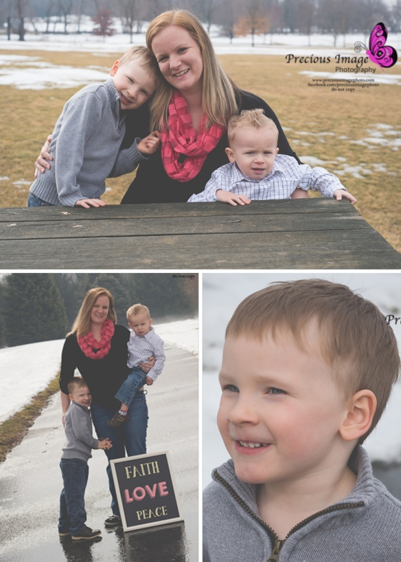 Family photos with sign and picnic table