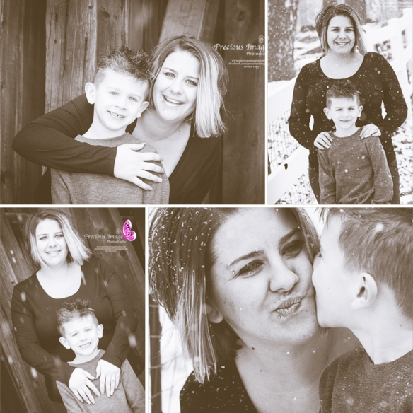 sepia collage of mom and son