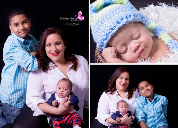 Collage of family with newborn