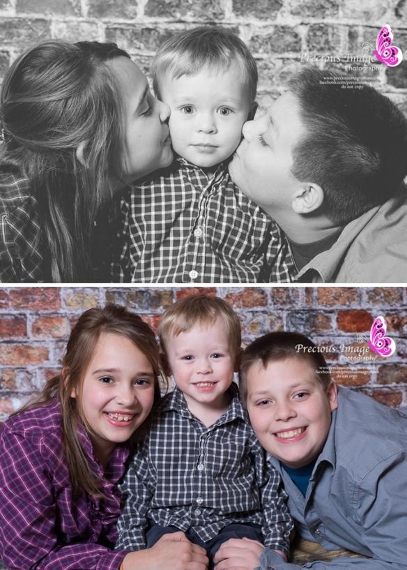 older siblings kissing boy
