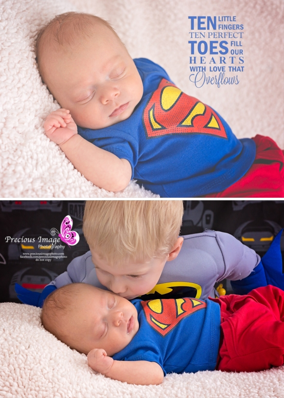 newborn and sibling dressed in superhero custumes